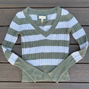American Eagle Cable Knit Stripped Sweater